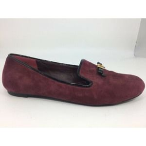 Tory Burch Burgundy Suede Flats Mini Gold Logo